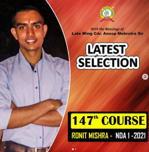 Ronit Mishra of Trishul Defense Academy Selected In Indian Army As Officer After Passing NDA 1 2021 Exam